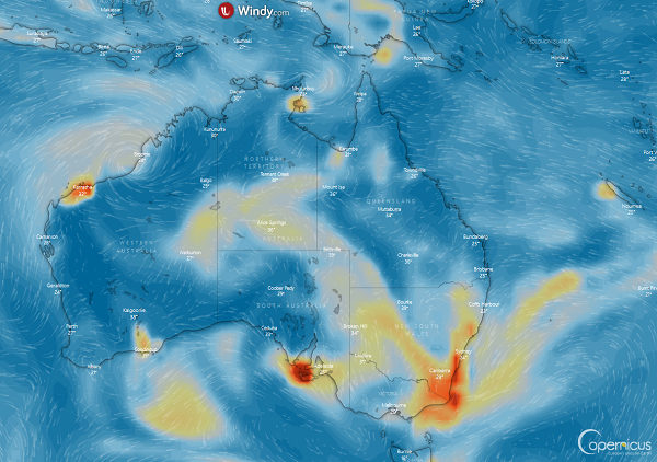 CAMS data on particulate matter released by the Australian wildfires