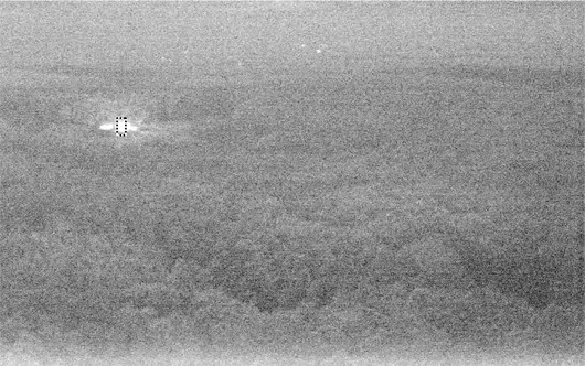 Night vision bushfire detection sensor image from the Peters Hill trial tower